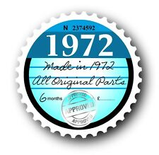 Retro 1972 Tax Disc Disk Replacement Vintage Novelty Licence Car sticker decal