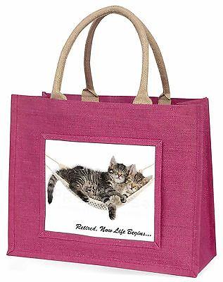 Katzen in hammock Pension Geschenk große rosa Einkaufstasche