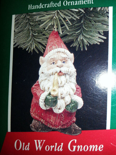 HALLMARK Keepsake 1989 OLD WORLD GNOME Santa Pipe CHRISTMAS ORNAMENT  Vintage NEW - Hallmark Keepsake 1989 Old World Gnome Santa Pipe Christmas Ornament