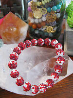 8 Red-berry-white Shimmer Rustic Crystal Ball Shamballa Cuff Bracelet