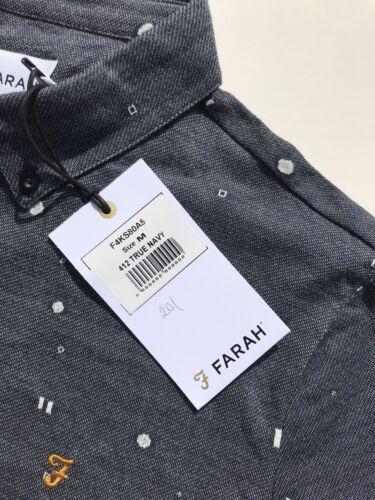 Farah vrai bleu marine à motifs géométriques à manches courtes Polo en jersey Taille M Gratuit P P