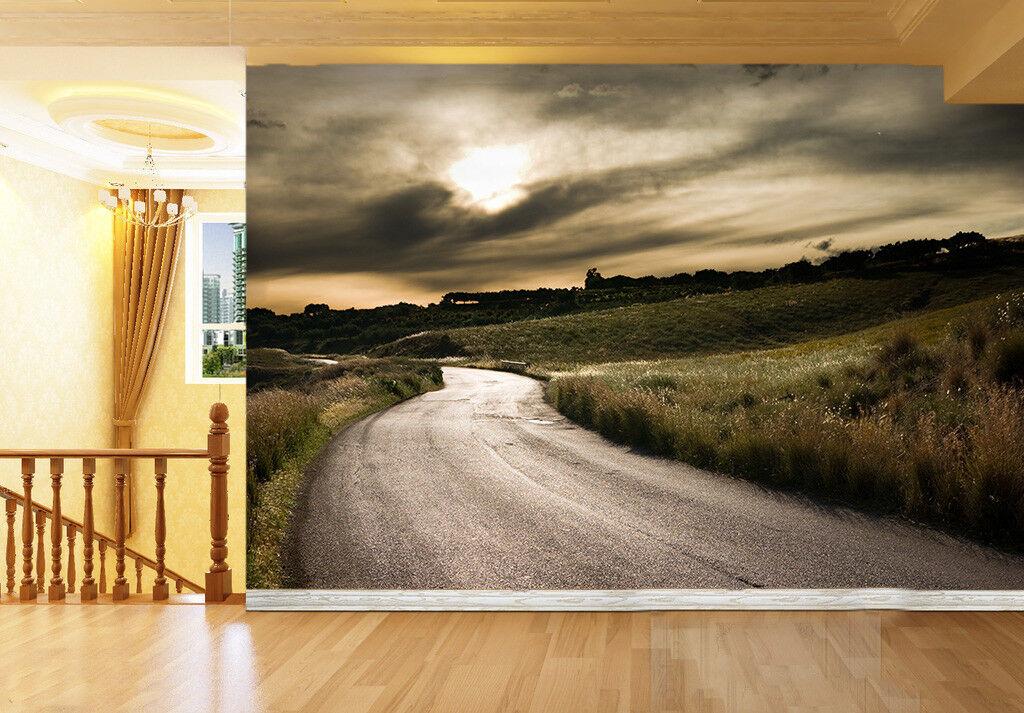 3D Wolkige Straße 732 Tapete Wandgemälde Tapete Tapeten Bild Familie DE Summer