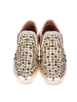 """ASH WOMENS PLATINUM METALLIC LEATHER STUDDED SLIP-ON SNEAKERS SHOES """"SHERICE""""8 M"""
