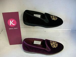 Da-Donna-K-da-Clarks-Marsha-Nero-o-Color-Prugna-Tessuto-Pantofole
