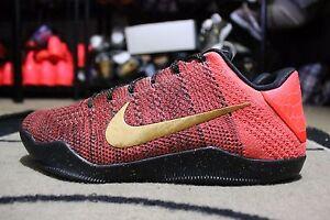 342a4d460d11 NEW Nike Kobe XI Elite Low Flyknit iD Infrared Black Gold Sz 9.5