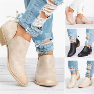 Women-039-s-Chunky-Heels-Round-Toe-Ankle-Boots-Casual-Short-Booties-Leather-Shoes