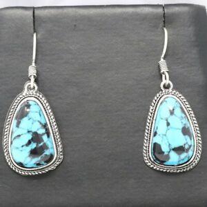 Handmade-Blue-Turquoise-Hoop-Earrings-Sterling-Silver-Vintage-Antique-Jewelry
