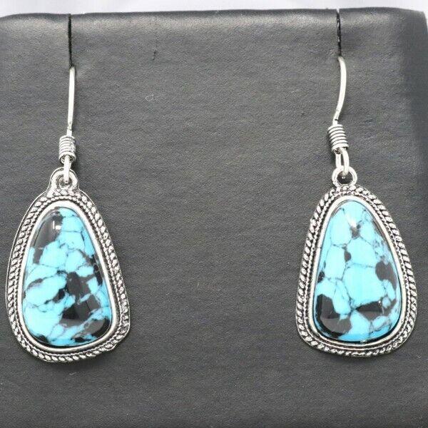 Handmade Blue Turquoise Hoop Earrings Sterling Silver Vintage Antique Jewelry