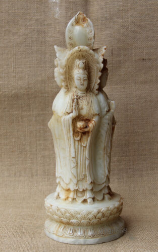"""10/"""" China Old White Jade hand Carved vase lotus 4 face Guanyin statue"""