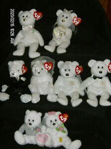 Ty Beanie Babies Wedding Pair💕 His/Hers, Mr/Mrs, We Do & Bride/Groom Bears  NEW