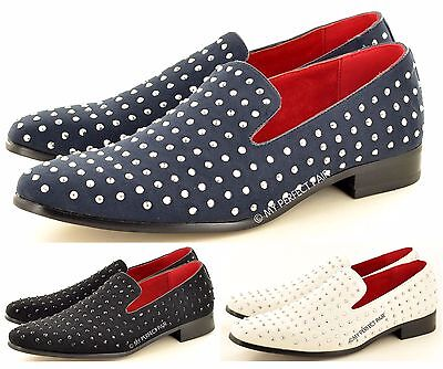 SchöN Mens Leather Lined Studded Slip On Loafers Shoes Black Navy White Uk Size 6-12