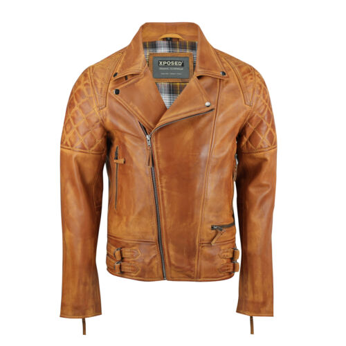 Xposed Lavato Casual Leather Vintage Style Real Mens Smart Jacket Biker New Tan 7qH7Rgw