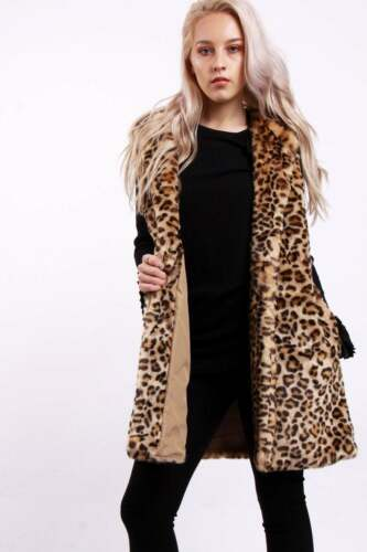 Womens Ladies Sleeveless Leopard Print Winter Gilet Faux Fur soft Jacket Coat