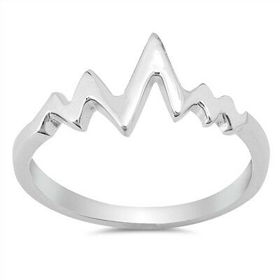 .925 Sterling Silver Seismic Earthquake Wave Heart Beat Band Ring Size 4-10 NEW