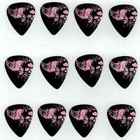 12 Pack Pink Skull Wings Angel Medium Gauge 351 Guitar Picks Plectrum