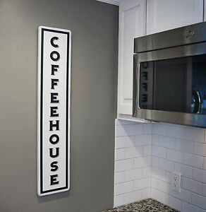 Image Is Loading Vintage Kitchen Coffee Sign Vertical COFFEEHOUSE Wood Sign
