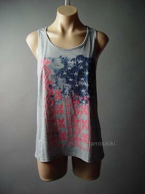 Heather Gray Indie Boho Tribal US Flag Star Design Tank Top 87 mv Shirt S M L
