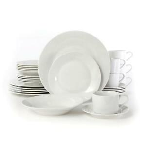 Image Is Loading White Porcelain Dinnerware Set 30 Piece Casual Table