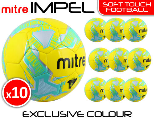 10 x MITRE IMPEL TRAINING FOOTBALLS YELLOW SIZES 3, 4 & 5 EXCLUSIVE COLOUR