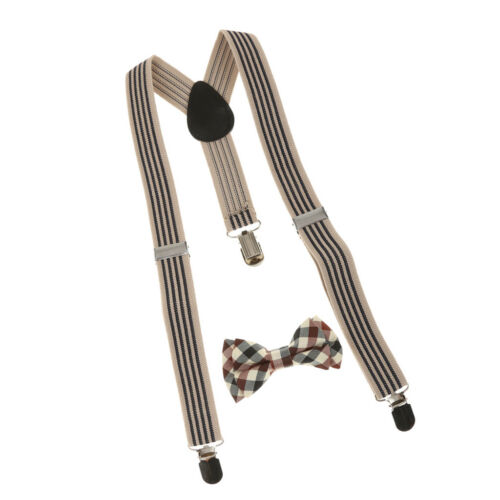 Adjustable Suspender Clip-on Braces and Bow Tie Set for Kids Boys Toddlers