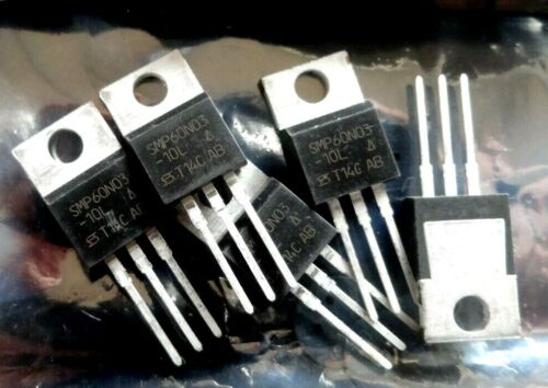 5 x Vishay Siliconix SMP60N03-10L 60 A 30 V niveau logique Power Mosfet TO220 60N03