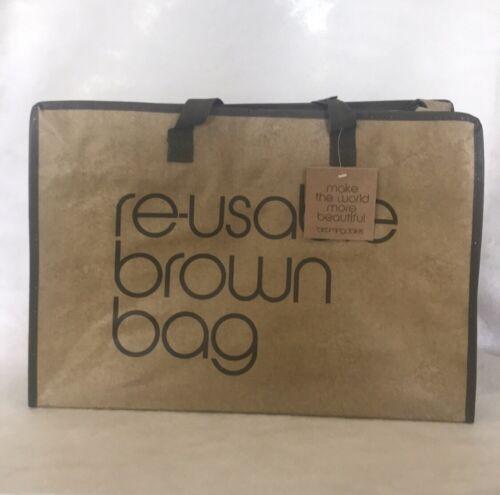 BLOOMINGDALE/'S REUSABLE TOTE BAG ECO ZIPPER BROWN SHOPPING STORAGE RARE NWT