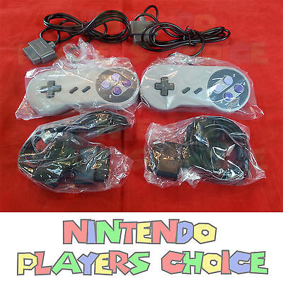 2 SNES Controllers + 2 Extension Cables for Super Nintendo  USA Seller Fast Ship