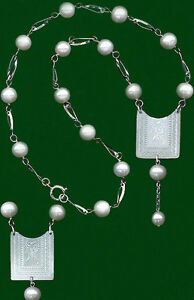 16 PEARL DROP SILVER NECKLACE on c.1780 CHINESE ENGRAVED 2 Sides SPRIGS MoPEARL