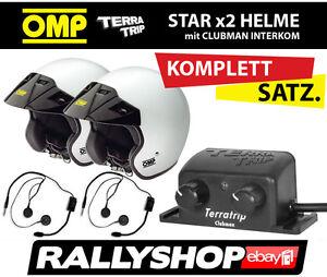 OMP-STAR-Helme-x-2-Intercom-Clubman-Jethelm-mit-Gegensprechanlage-KOMPLETT-SET