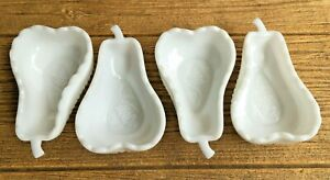 Imperial Pure White Milk Glass Pear Dishes Candy Dessert Condiment Bowls Set of4