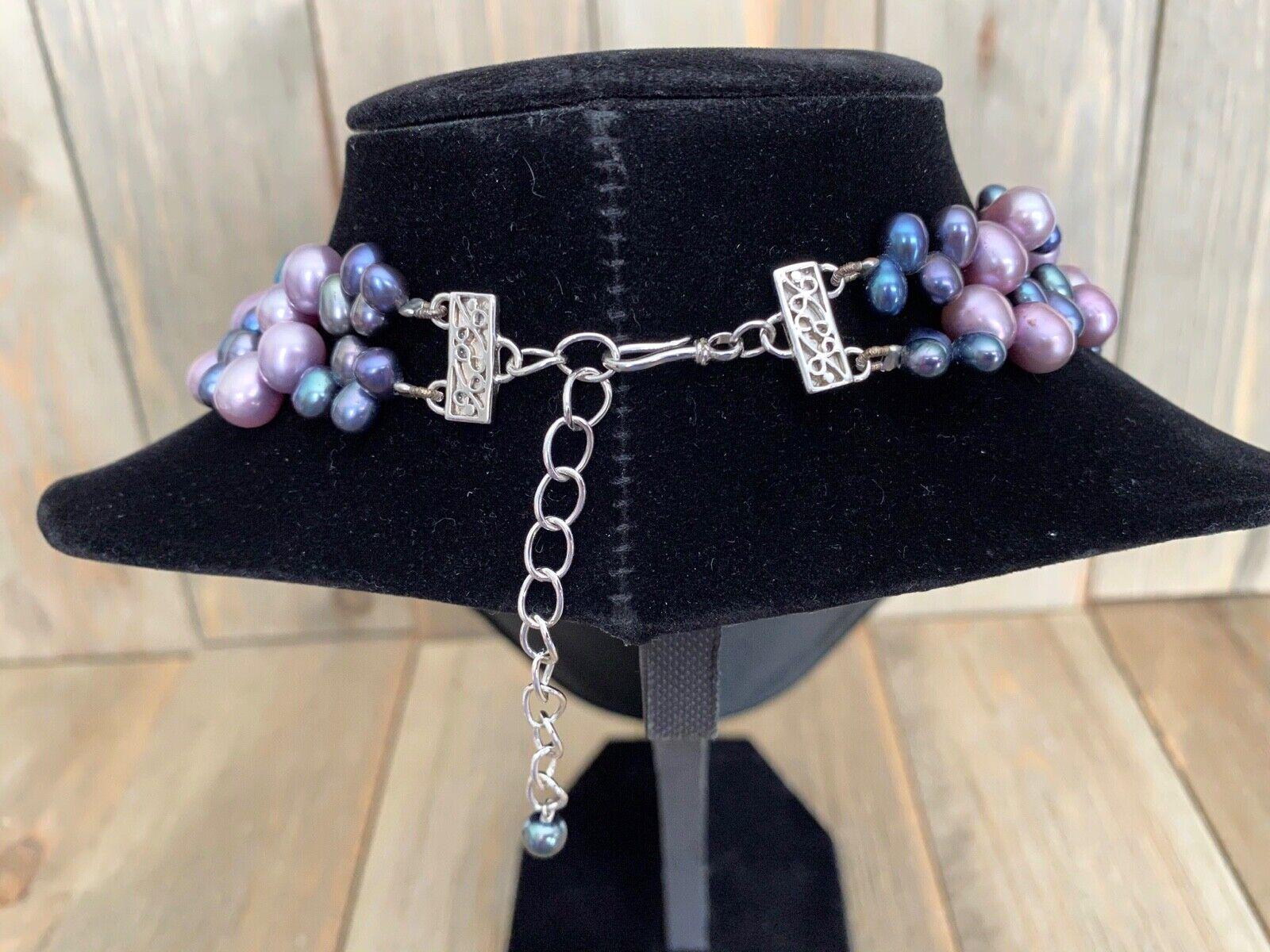 Necklace Amethyst Pearls Cluster Diana Venezia Ra… - image 4