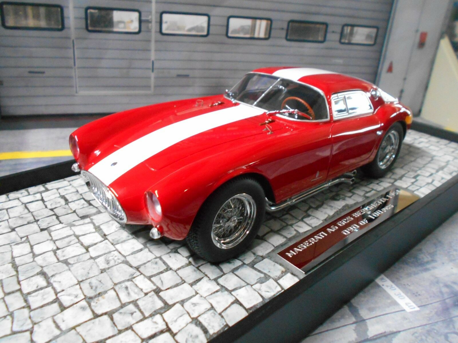 MASERATI a6gcs a6 COUPE 1954 rosso bianca  STRIPES resin highenddet Minichamps 1:18