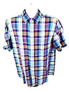 Nautica-Mens-L-Short-Sleeve-Button-Front-MultiColor-Plaid-Shirt