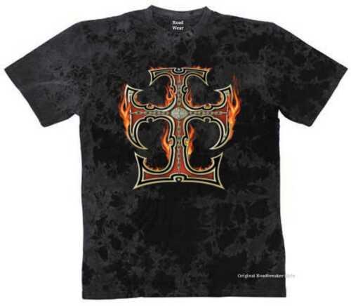 T SHIRT Batik BLACK Gothik Vintage Biker Old School /& Tatouage Motif Modèle Flaming