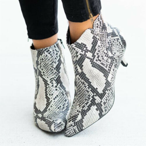 Womens Pointed High Boots Heels Toe Office Work Casual Leopard Printed Shoes