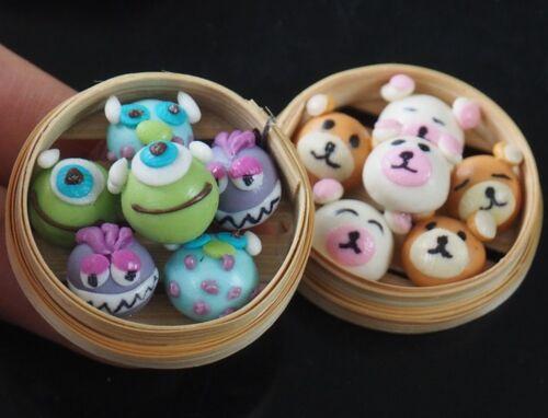 1:6 Dollhouse Miniatures Cute Chinese Food Fancy Steamed Stuffed Bun Dumplings