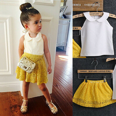 Kid Baby Girl Sleeveless Round Collar Top+Yellow Lace Dress 2Pcs Suit Outfit Set