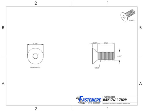 "3//8-16 x 1/"" Flat Head Socket Cap Screws Allen Drive Stainless Steel Qty 50"