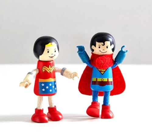 NOUVEAU Pottery Barn Kids Superman /& Wonder Woman Bois Figurines