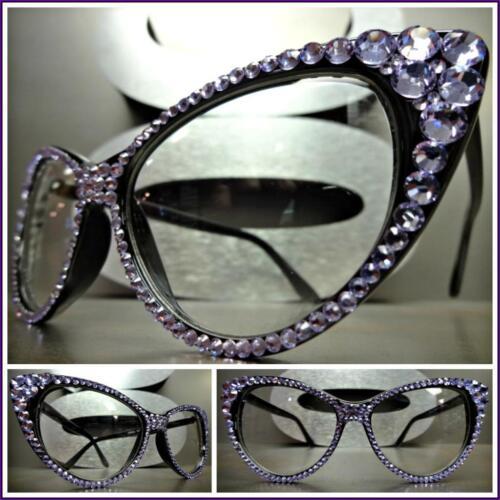 Womens VINTAGE 60s CAT EYE Style Clear Lens EYE GLASSES Purple Crystals Handmade