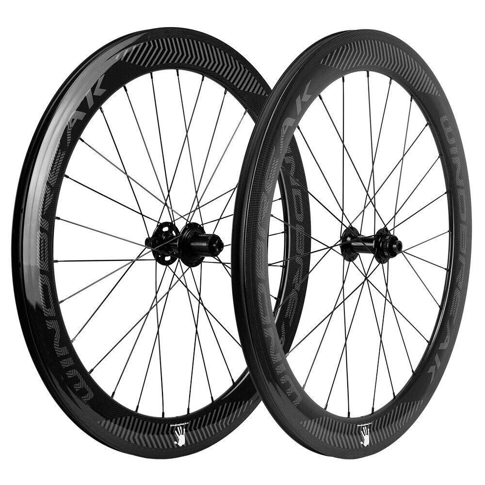 Carbon Disc Brake Wheelset 60mm Road Bike Clincher Thru Axle QR Bicycle Wheels