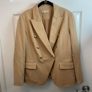 DG2-By-Diane-Gilman-Womens-Double-Breasted-Suit-Jacket-Beige-Stretch-Blazer-M