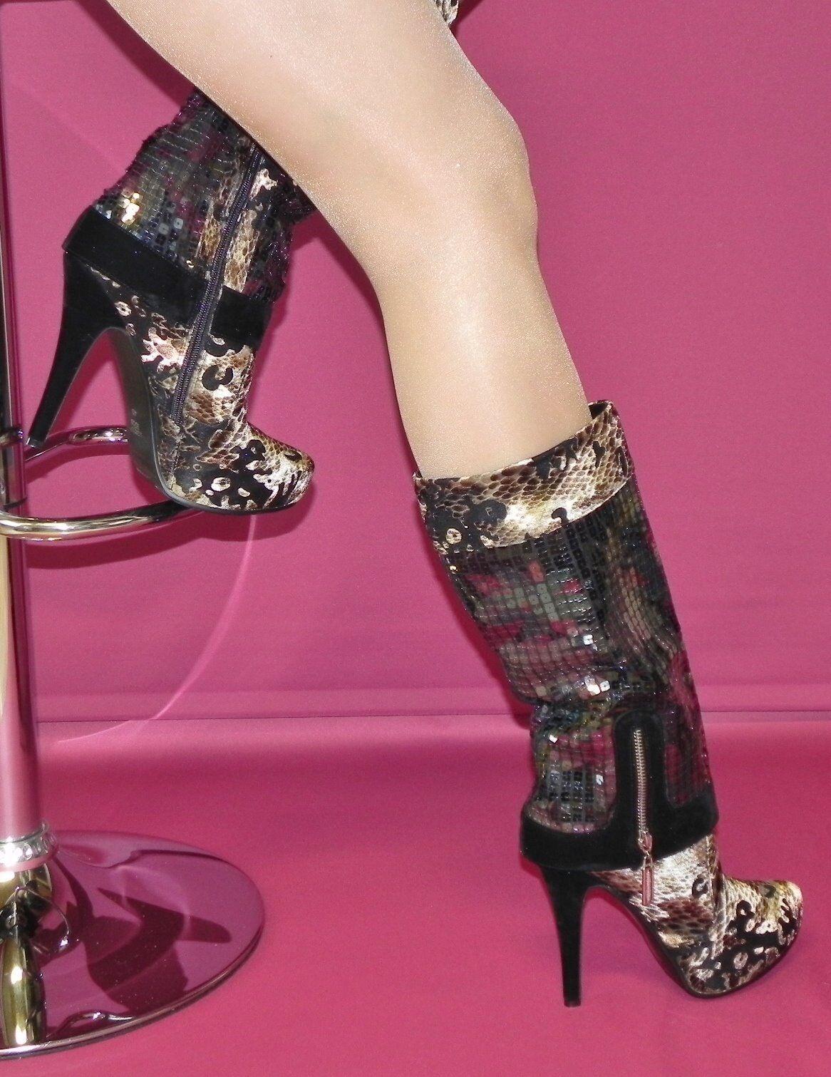 exquisite Velour-Stiefel mit Plateau und Pailetten Gr. 40