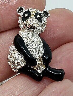 Bobble Head Black Bear Brooch Pin Animal Brooch Pin Vintage Black Enamel Rhinestone Bobblehead Bear Brooch Pin
