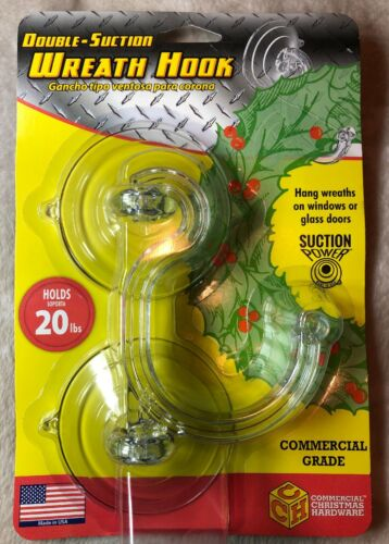 Adams Commercial Christmas Hardware Double Suction Cup Wreath,Towel Hook 20lb