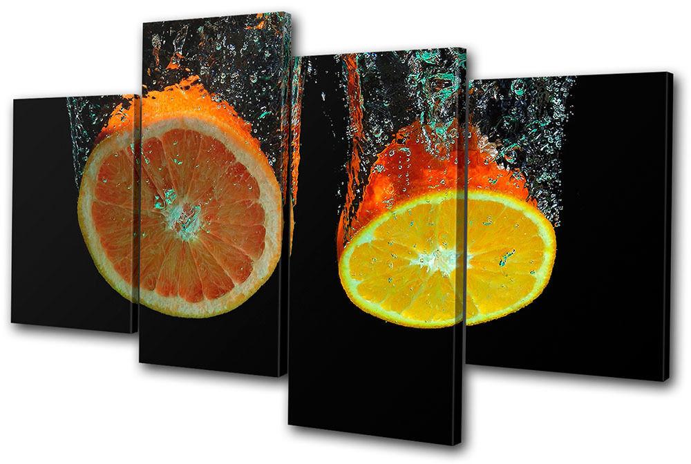 Food Kitchen Fruit Water Splash MULTI TOILE murale ART Photo Print