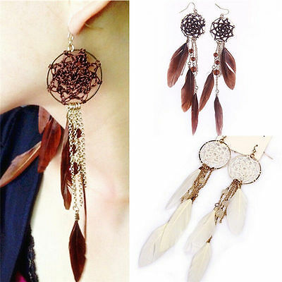 Fashion Women Lady Bohemia Feather Beads Long Design Dream Catcher Earrings Gift