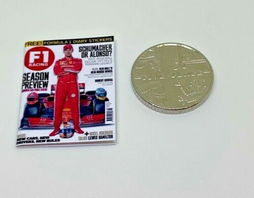 Handmade 1:12th Scale miniature maison de poupées Formule 1 Sports magazine