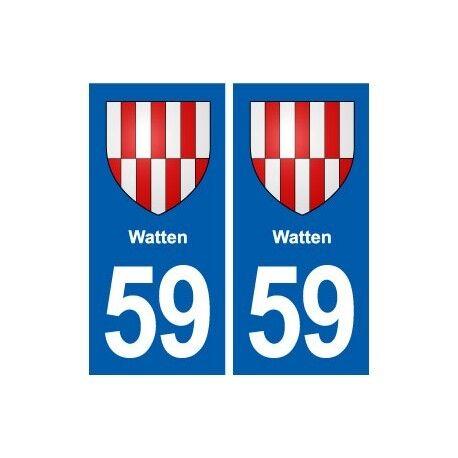 59 Watten blason autocollant plaque stickers ville arrondis