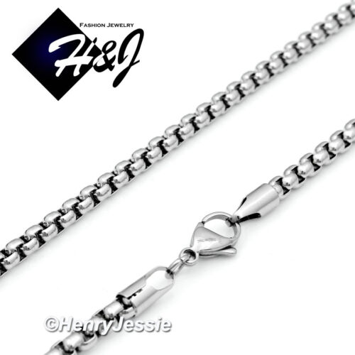 """24/""""MEN Stainless Steel 3mm Silver Box Link Chain Necklace VIRGIN MARY Pendant*26"""